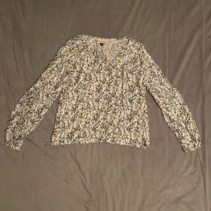 Universal Thread Cream Floral Bubble Sleeve Top S